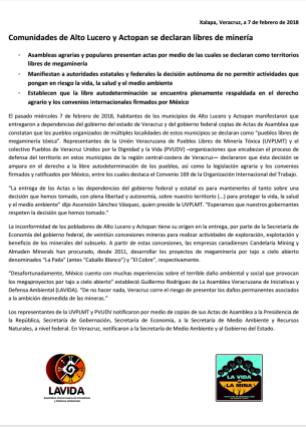 Boletín de prensa 7feb18