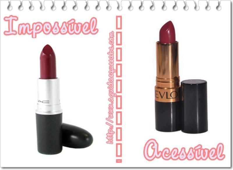 cosméticos low cost maquilhagem dupes makeup batom mac revlon