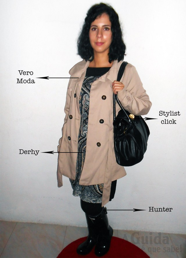 ootd look do dia lotd outfit trendy moda outono inverno hunter derhy vero moda trench coat