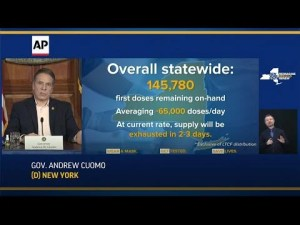 Cuomo: NY 1st dose vaccines to run out in 2-3 days