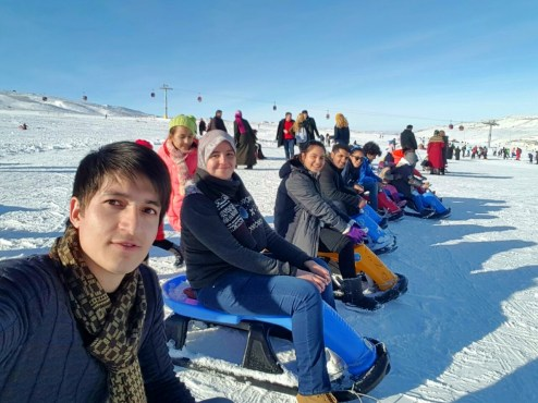 Abdullah Gül University, International, Students, AGU, fun day, activity, off-campus, sled, Erciyes, Ski Resort