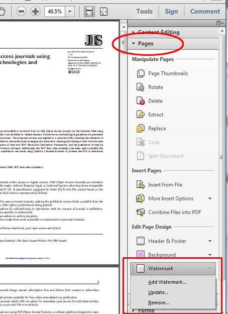 Gambar 1. Pemilihan Watermark dari menu Pages