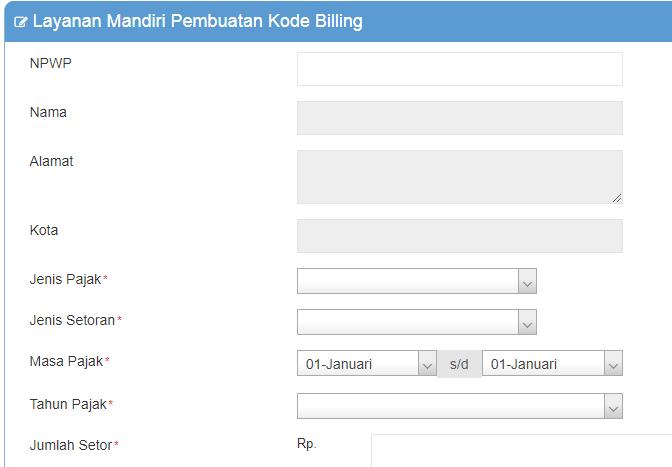 Contoh data-data yang harus diinput untuk membuat kode billing atau id billing