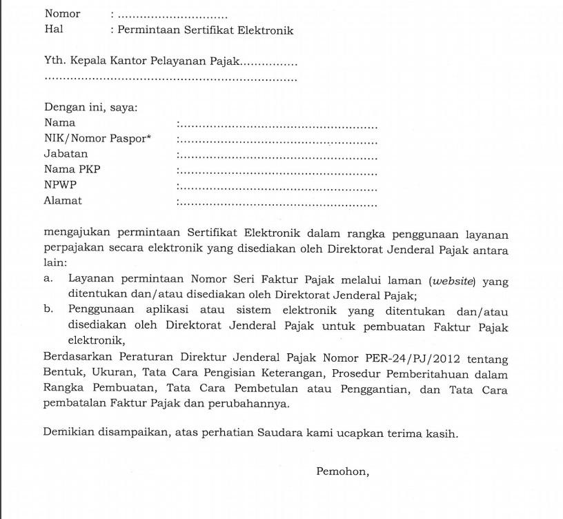 contoh surat permintaan sertifikat elektronik