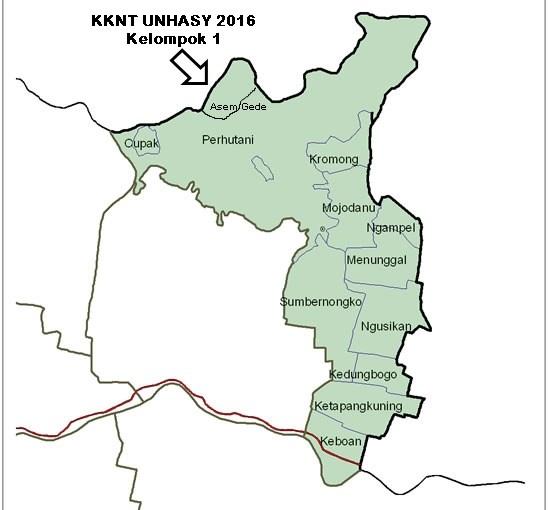 Peta Desa Asem Gede Kecamatan Ngusikan Kabupaten Jombang - Tempat KKNT UNHASY Tebuireng 2016 Kelompok 1
