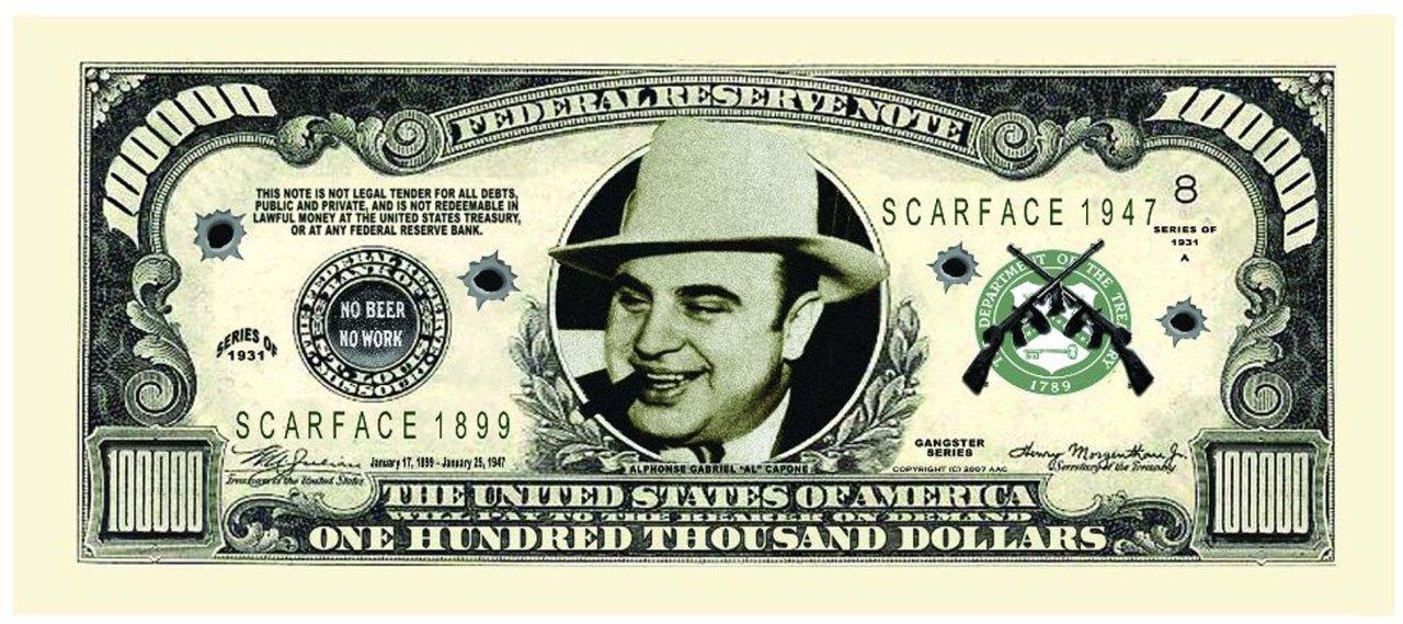 Billete con la cara de Al Capone