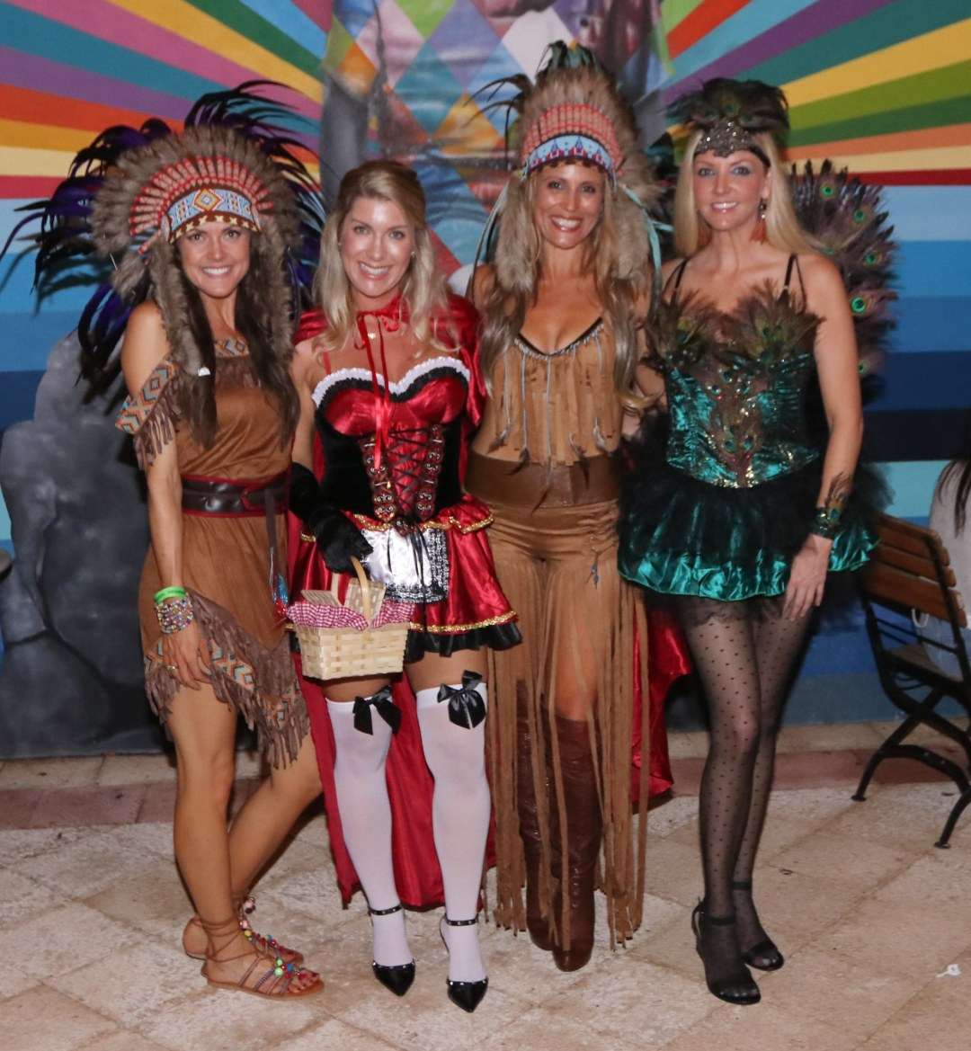 Two Native Americans, a Peacock and Red Riding Hood at Moonfest 2019 (photo by: Mike Jalches)