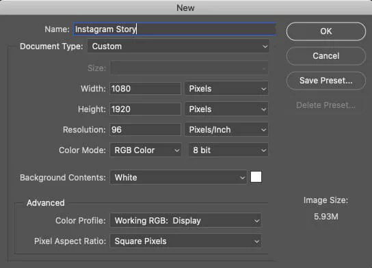 Instagram Story Dimensions in Photoshop when Creating a New Document