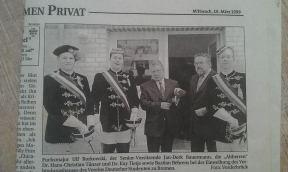 Der Weser Report berichtete am 10. März 1999 über die Einweihung des Verbindungshauses des VDSt zu Bremen
