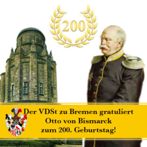 Der Eiserne Kanzler und seine Bismarcksäule, die ihm zu Ehren von den Vereinen Deutscher Studenten errichtet wurde