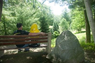 Captain Ahab of Ahab's Adventures outside St. Columba Chapel at Columcille Megalith Park in Pennsylvania 2015