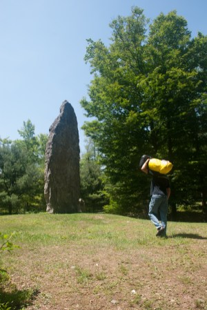 Captain Ahab of Ahab's Adventures checking out the Mannanan at Columcille Megalith Park in Pennsylvania 2015