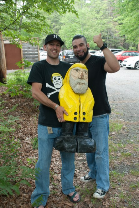 Captain Ahab of Ahab's Adventures passed this guy on the trail and then he stopped all traffic in the park to get a picture with us on his way out at Bushkill Falls in the Delaware Water Gap National Recreational Area of Pennsylvania 2015