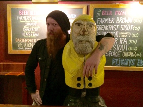 Captain Ahab of Ahab's Adventures hanging out with a fellow bearded bartender at People's Pint in Greenfield Massachusetts 2015
