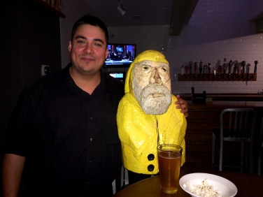 Captain Ahab of Ahab's Adventures at a business meeting gone friendly at Hops and Vines in Williamstown Massachusetts along route 2 2015
