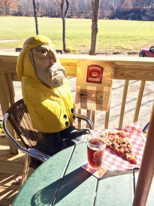 Captain Ahab of Ahab's Adventures enjoying a slice and grog at Berkshire Pizzeria in Charlemont Massachusetts along Route 2 2015