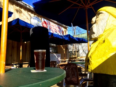 Captain Ahab of Ahab's Adventures enjoying a slice and grog at Berkshire Pizzeria in Charlemont Massachusetts along Route 2 2015