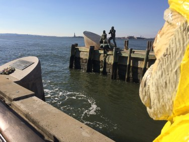 Captain Ahab of Ahab's Adventures near the Statue of Liberty in NYC 2015