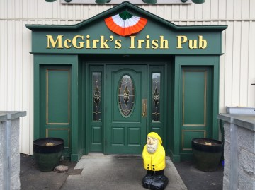 Captain Ahab of Ahab's Adventures stopping in McGirk's Irish Pub for lunch in Binghampton, New York 2016