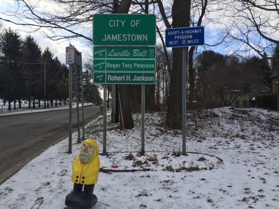 Captain Ahab of Ahab's Adventures always loves a good welcome sign Jamestown, New York 2016