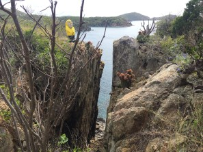 Captain Ahab of Ahab's Adventures hiking the Cabritte / Tektite Trail on St. John U.S. Virgin Islands 2016