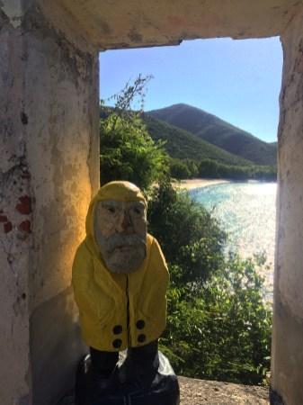 Captain Ahab of Ahab's Adventures looking at Little Lameshur Bay from the ruins on St. John U.S. Virgin Islands 2016