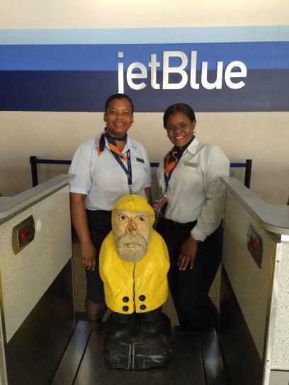 Captain Ahab of Ahab's Adventures leaving on jetBlue on St. Thomas in U.S. Virgin Islands 2016