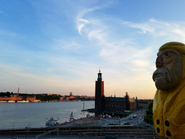 Captain Ahab of Ahab's Adventures commandeering a nice view of City Hall in Stockholm Sweden 2016
