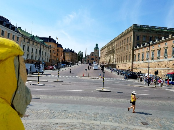 Captain Ahab of Ahab's Adventures viewing the sights outside The Royal Palace in Stockholm Sweden 2016