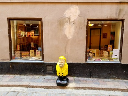 Captain Ahab of Ahab's Adventures trying to visit every cobblestone street of Old Town in Stockholm Sweden 2016