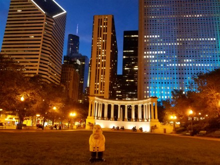 Captain Ahab of Ahab's Adventures checking out Wrigley Square Monument in Millennium Park in Chicago Illinois 2016