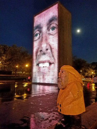 Captain Ahab of Ahab's Adventures checking out The Crown Fountain in Millennium Park in Chicago Illinois 2016