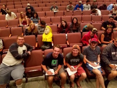 Captain Ahab of Ahab's Adventures making new friends at orientation at Western State Colorado University in Gunnison Colorado 2016