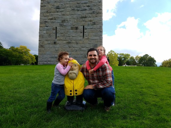 Captain Ahab of Ahab's Adventures making new friends at the Bennington Battle Monument Vermont 2016