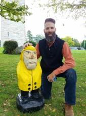 Captain Ahab of Ahab's Adventures making new friends at the Bennington Battle Monument Vermont 2016