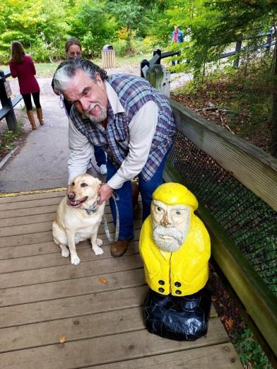 Captain Ahab of Ahab's Adventures making friends at Upper Tahquamenon Falls in the Upper Peninsula Michigan 2016