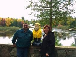 Captain Ahab of Ahab's Adventures making friends at Lower Tahquamenon Falls in the Upper Peninsula Michigan 2016