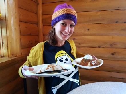 Captain Ahab of Ahab's Adventures enjoying our first pasties of Michigan 2016