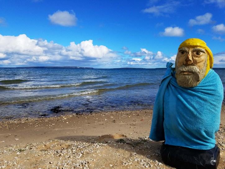 Captain Ahab of Ahab's Adventures skinny dipping in Lake Huron Michigan 2016