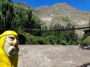 Captain Ahab of Ahab's Adventures getting ready to go white water rafting at Cascada de Las Animas in San Alfonso Chile 2017