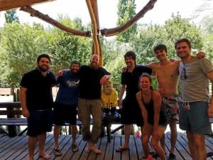 Captain Ahab of Ahab's Adventures making friends at Cascada de Las Animas in San Alfonso Chile 2017