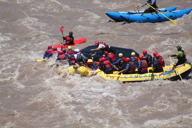 Captain Ahab of Ahab's Adventures white water rafting at Cascada de Las Animas in San Alfonso Chile 2017