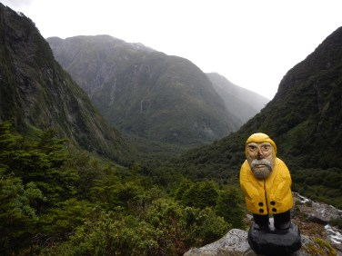 Captain Ahab of Ahab's Adventures trekking to the Lagoon of the Gnomes in Queulat National Park Chile 2017