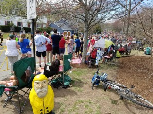 Captain Ahab of Ahab's Adventures watching the Boston Marathon in Boston Massachusetts 2017