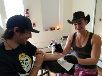 Captain Ahab of Ahab's Adventures getting ink at AR Designs Fine Art and Tattoo in North Adams Massachusetts 2017