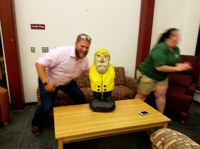 Captain Ahab of Ahab's Adventures making new friends at Southern Vermont College 2017
