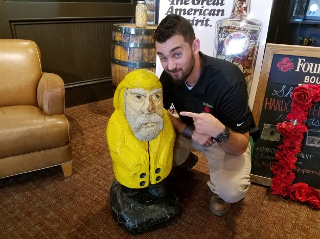 Captain Ahab of Ahab's Adventures making friends at Four Roses distillery in Lawrenceburg Kentucky 2017