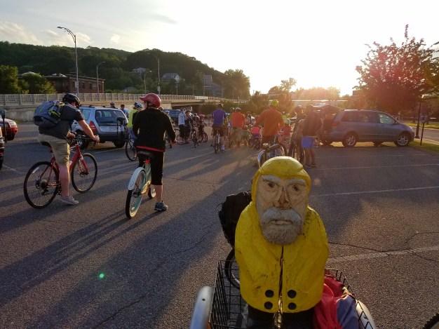 Captain Ahab of Ahab's Adventures enjoying the Downtown Bike Around in North Adams, MA 2017
