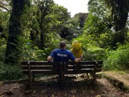 Captain Ahab of Ahab's Adventures and his caretaker Geeg pondering at the Monteverde Cloud Forest Biological Reserve Costa Rica 2018