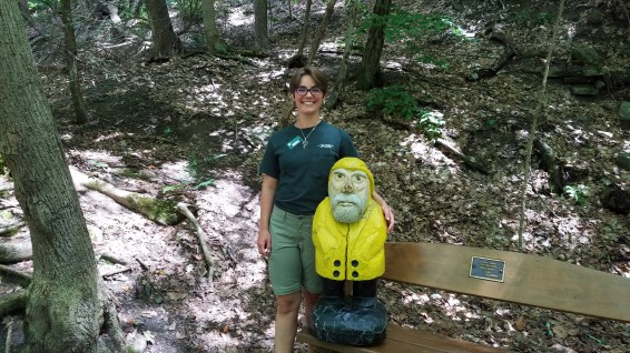 Captain Ahab of Ahab's Adventures making new friends in Taughannock Falls State Park 2019